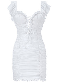 Lace Up Frill Ruched Dress White