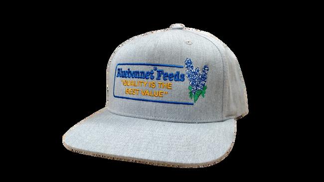 "Light grey ""throwback"" cap with retro-style Bluebonnet logo"