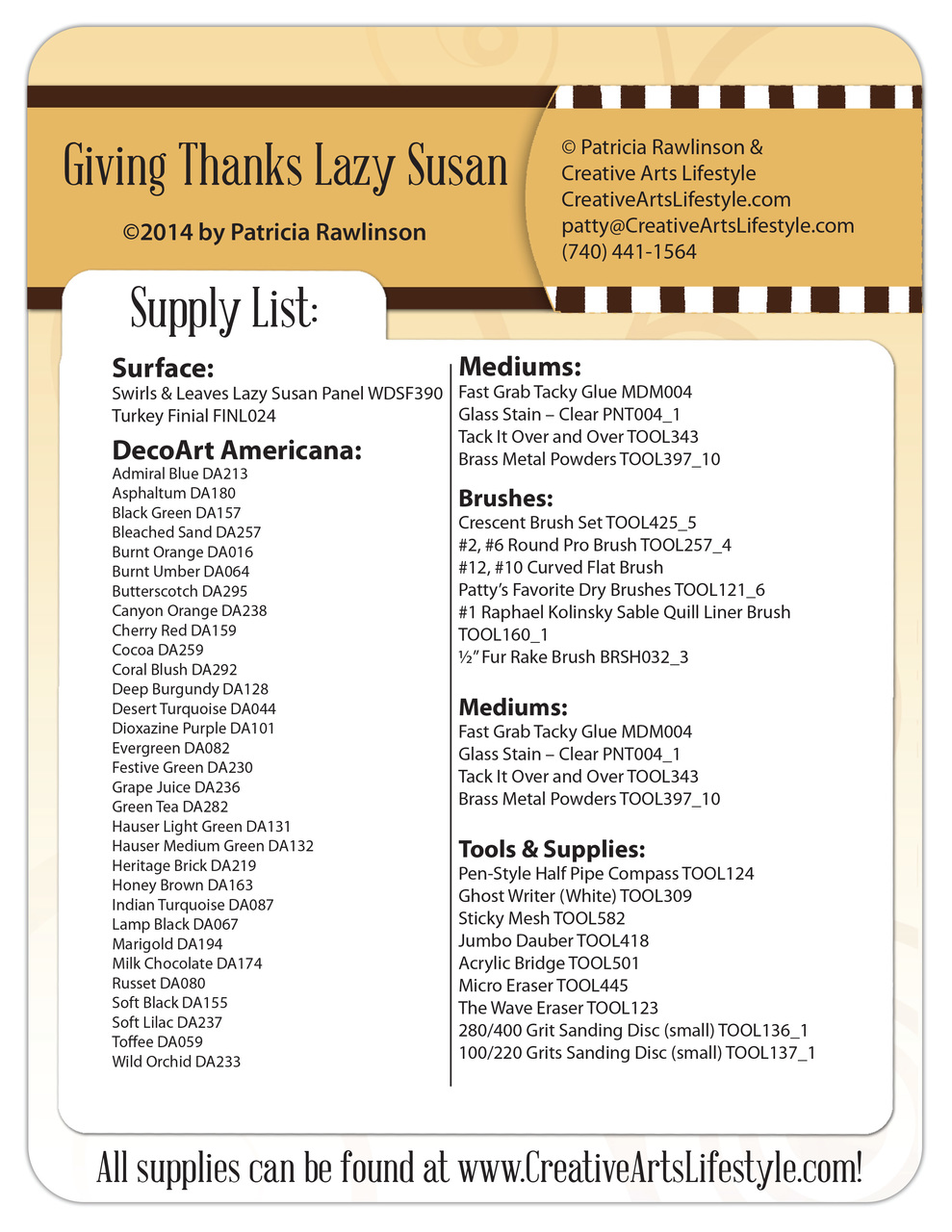 Giving Thanks Lazy Susan DVD & Pattern Packet - Patricia Rawlinson