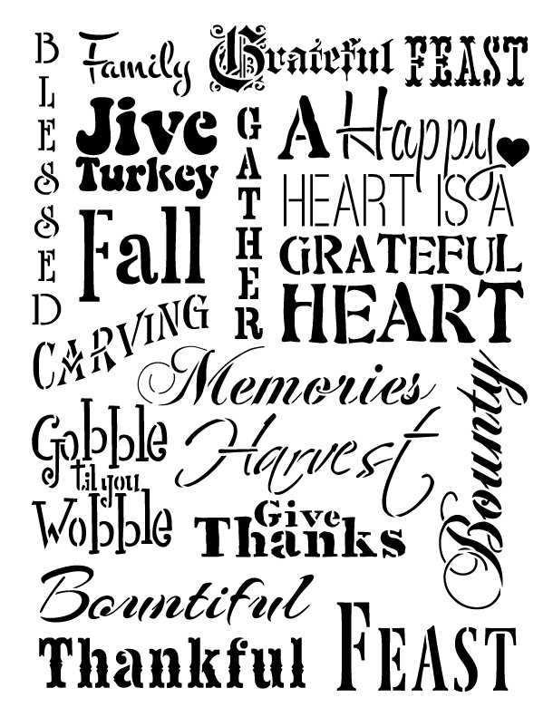 "Thanksgiving Background Word Stencil  - 8.5"" x 11"""
