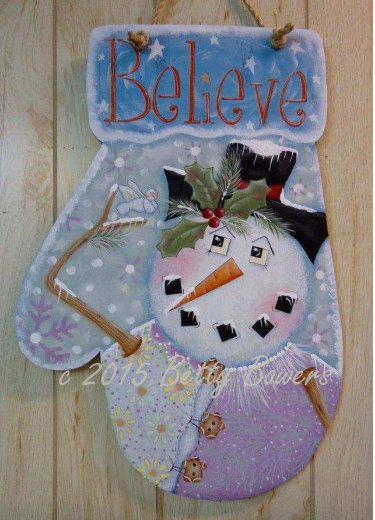 "Believe Snowman Mitten 12"" x 18"" E-packet - Betty Bowers"