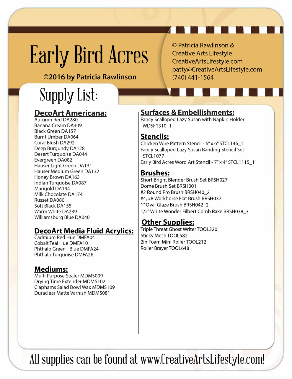 Early Bird Acres Lazy Susan Packet by Patricia Rawlinson