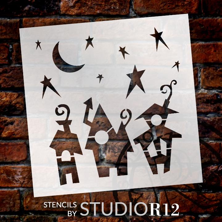 Spooky town embellishment stencil 6 x 6 stcl1305 1 for Spooky letter stencils