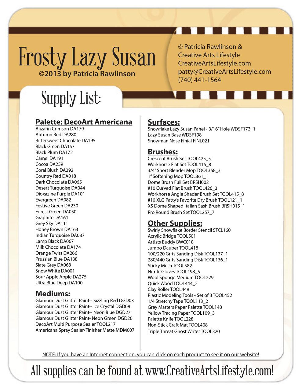 Frosty Lazy Susan E-Packet - Patricia Rawlinson