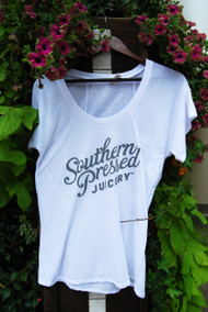 Southern Pressed Juicery's Flowy White Scoopneck T-shirt