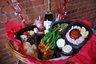 """Gourmet Dinner for two """"to go"""" Valentine's Day Basket"""