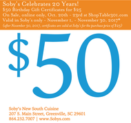 Soby's 20th Birthday Gift Certificate