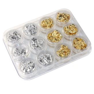 Silver & Gold Nail Flake Foils