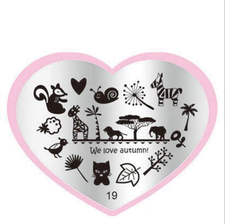 Autumn Zoo Stamping Plate - Heart 19