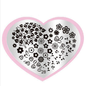 Floral Stamping Plate - Heart 28