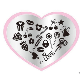 Love & Candy Stamping Plate - Heart 12