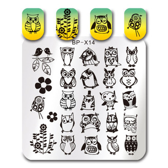 Owls - Square Stamping Plate - Born Pretty X14