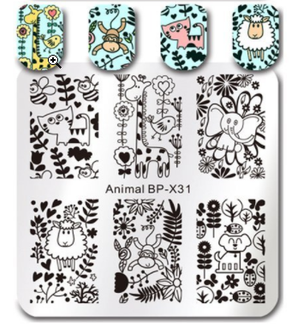Adorable Animals - Square Stamping Plate - Born Pretty X31