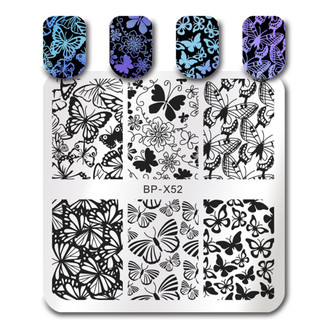 Butterfly - Square Stamping Plate - Born Pretty X52