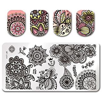 Chic Flowers - Rectangle Stamping Plate - Born Pretty L014
