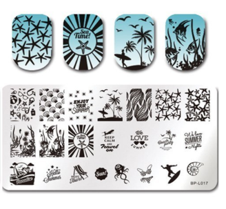 Summer Beach - Rectangle Stamping Plate - Born Pretty L017