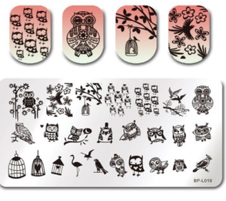 Lovely Owls - Rectangle Stamping Plate - Born Pretty L019