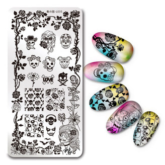 Skulls & Roses - Rectangle Stamping Plate - Harunouta L035