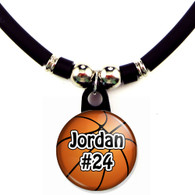 Personalized basketball necklace with your name and number