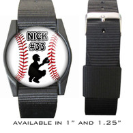 Personalized Baseball Catcher Bracelet/Wristband With Name and Number