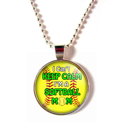 Cabochon glass I Can't Keep Calm I'm a Softball Mom Ball Chain Necklace