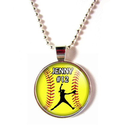 personalized cabochon softball pitcher necklace