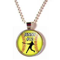 personalized cabochon softball batter/hitter necklace