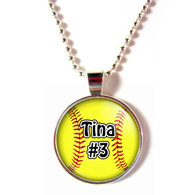 Personalized cabochon glass softball necklace with your name and number