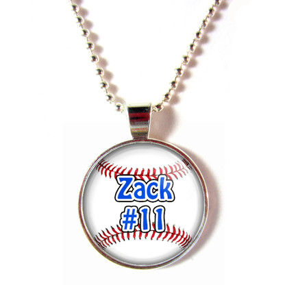 Personalized cabochon glass baseball pendant necklace with your name and number