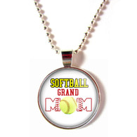Softball Grand Mom cabochon glass pendant necklace