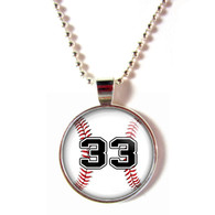 Personalized cabochon glass baseball necklace with your number