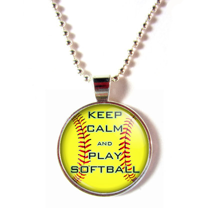 Cabochon glass Keep Calm And Play Softball Ball Chain Necklace