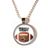 Personalized Cabochon Glass football necklace with your name and number