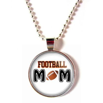 Football mom cabochon glass necklace