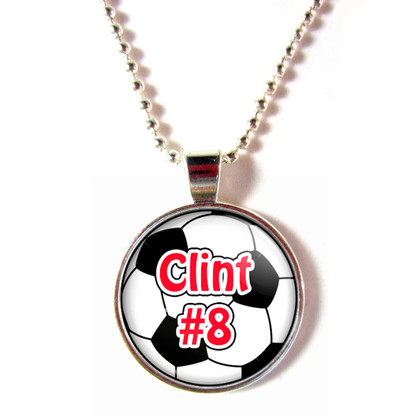 Personalized cabochon glass soccer ball necklace with name and number