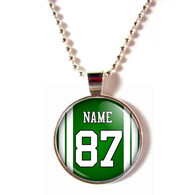 Personalized New York Jets Cabochon Glass Necklace with name and number