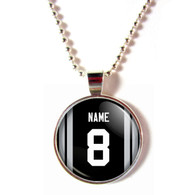 Personalized Oakland Raiders Cabochon Glass Necklace With Name and Number