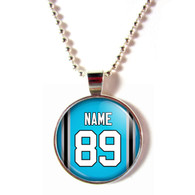 Personalized Carolina Panthers Cabochon Glass Necklace With Name and Number