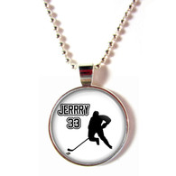 Personalized cabochon glass Hockey pendant necklace with name and number