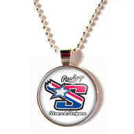 Stars & Stripes baseball cabochon glass baseball necklace
