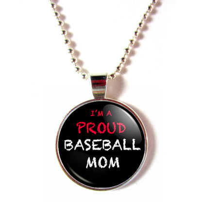 I'm a Proud Baseball Mom Blackboard cabochon glass necklace