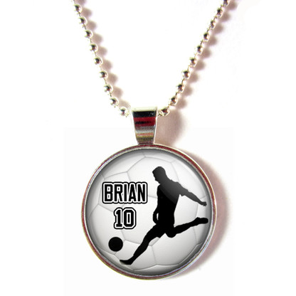 Personalized cabochon glass soccer player  silhouette necklace with name and number