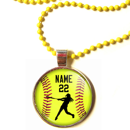 "Personalized Yellow Chain 1"" Diameter Softball Pendant Necklace with Your Name and Number"