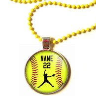 "Copy of Personalized Yellow Chain 1"" Diameter Softball Pitcher Pendant Necklace with Your Name and Number"
