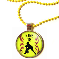 "Personalized Yellow Chain 1"" Diameter Softball Outfielder Pendant Necklace with Your Name and Number"