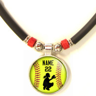 Personalized  Softball Catcher 3D Glass Pendant Necklace With Name & Number