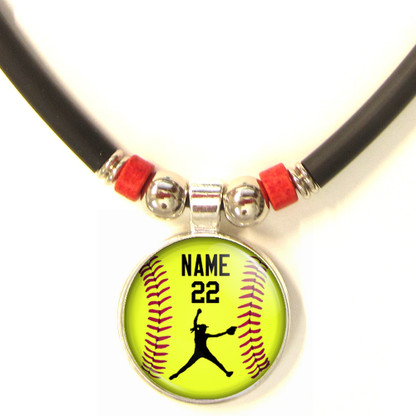 Personalized  Softball Pitcher 3D Glass Pendant Necklace With Name & Number