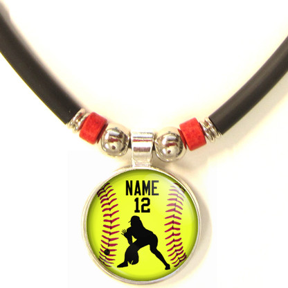 Personalized  Softball OutFielder 3D Glass Pendant Necklace With Name & Number