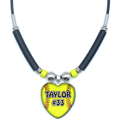 Mo.AHGYB-Personalized Yellow Softball Heart 3D Glass Pendant Necklace With Your Name and Number