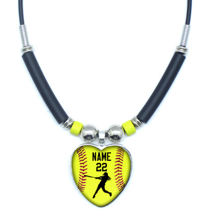 Mo.AHGYB-Personalized Yellow Softball Batter Heart 3D Glass Pendant Necklace With Your Name and Number